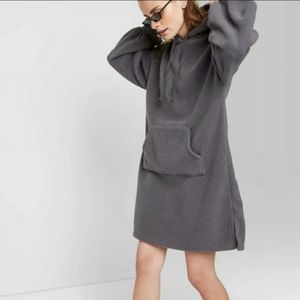 Wild Fable Grey Fuzzy Hooded sweater dress XS